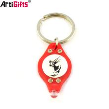 Wholesale Custom promotion gift bulk pvc flashing led mini key chain