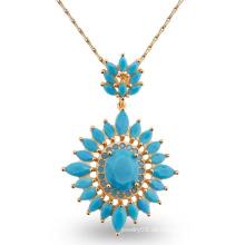 Luxuxblau AAA CZ Steinentwurfs-Art- und Weisecharme-Schmucksache-Halskette