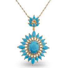 Роскошный синий AAA CZ камень дизайн моды очарование ювелирные изделия ожерелье