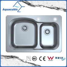 Contemporary Double-Bowl Moduled Kitchen Sink (ACS3322DM)