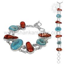 Bracelete de pedras preciosas impressionante 925 Jóias de prata esterlina Jóias feitas à mão indianas