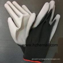 Luva de trabalho de segurança revestido de nylon preto PU luvas PU