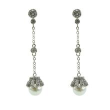 Pure silver pearl earrings