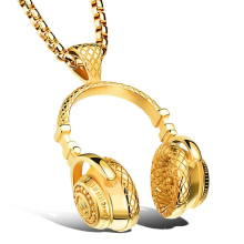 Headphones Gold and black and silver Necklace gold Music Pendant silver Hiphop Fashion chain with 24in chain