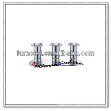 T209 H85mm Aço inoxidável Triple Heads Short Candle Holder