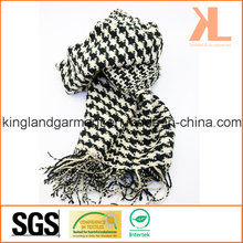 Acrylic Winter Warm Black & White Swallow Gird/Houndstooth Woven Scarf with Fringe