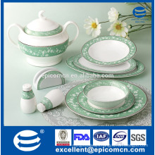 2015 new arrival embossing decal with royal platinum on dinnerware set new bone china
