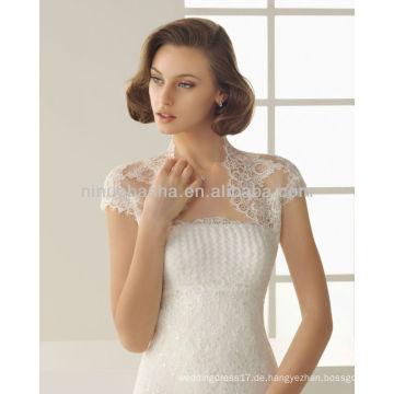 Attraktive 2014 trägerlose Applique Perlen A-Linie Brautkleid Kleider mit High Neck Kurzarm Spitze Bolero Jacke NB005
