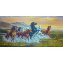 Pintura a óleo Handmade do cavalo na lona