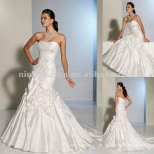 Lace appliques com vestido de noiva de mão-beading