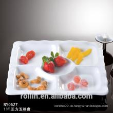 Einzigartiges Form-Porzellan Fünf Obst-Tablett geteilte Snack-Platte
