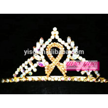 beautiful headpiece accessories gold crystal ribbon bow knot tiara