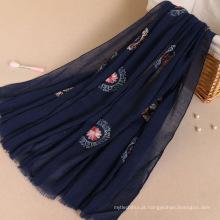 Moda atacado mulheres longo Floral manta pashmina Bordado lenço de algodão hijab
