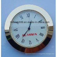 Reloj personalizado de 65 mm pequeño inserta el tono dorado redondo de plata