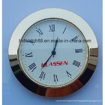 Benutzerdefinierte 65mm kleine Uhr fügt Goldton Silber Runde