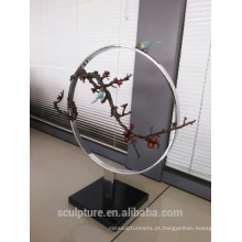 Moderno Grandes Artes famosas Resumo pássaro de cobre e escultura de árvore para decoração interior ou exterior