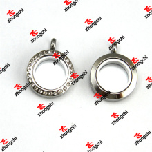 25 mm de acero inoxidable imanes de memoria cristal de cristal ronda lockets (kdj60129)