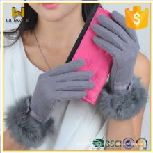 Guantes para mujer Pantalla táctil con guantes de piel de conejo Guantes de lana a medida