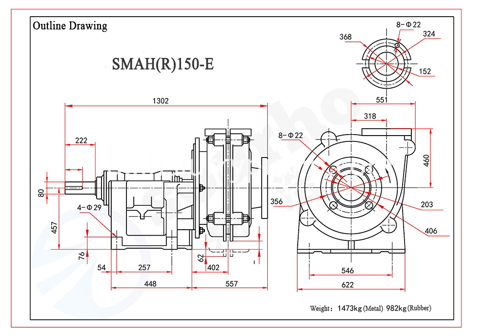 SMAH(R)150-E outline drawing