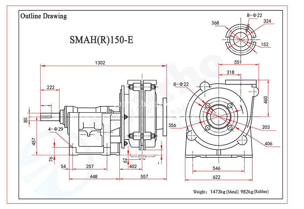 SMAH(R)150-E outline drawing