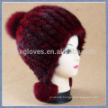 Fashion Lady Knitted Mink Fur Caps and Hats With balls