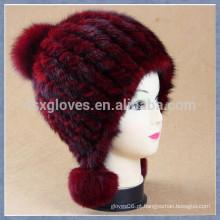 Moda Lady Burgundy Mink Fur Cap com esferas sólidas