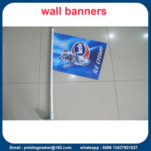 Custom Wall Mounted Shop Front Flags With Pole