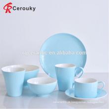 Dois, tom, cor, porcelana, cerâmico, azul, jantar, jogo