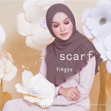 El tamaño grande de alta calidad 180 * 75 cm las mujeres de la gasa de la burbuja arruga hijab bufanda articulado