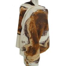 30% cashmere 70% wool printed shawl