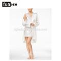 Women satin pajama white and black fahion home dress night-robe