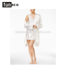 Women satin pajama white and black fahion home dress night-robe
