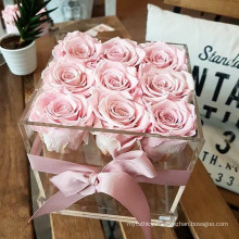 Hot Sale Christmas Gift Square Acrylic Flower Box