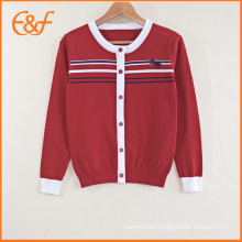 Middle School Knitted Stripe Pattern School Uniform Sweaters For Girls