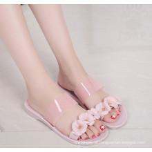 Sapatos de cristal / geléia de PVC para senhoras com flores Exqusite