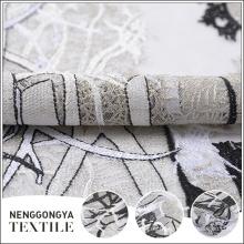 Diseñador de tela de encaje bordado malla súper poliéster al por mayor
