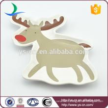 Ceramic Deer Chrismas Plate For Family