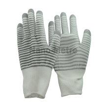 NMSAFETY 13g nylon blanc et gris enduit de gant de tricot blanc PU sur gants de travail de gants de paume