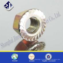 DIN6923 écrou à bride hexagonale de fixation en acier