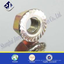 Porca de flange hexagonal DIN6921 com zinco amarelo