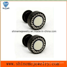 Fashion Jewelry Black Plating with White Glue Earring Ear Stud (ER2916)