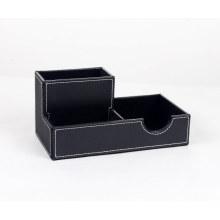 Organigramme en cuir multifonctionnel Porte-stylo / Porte-cartes de nom / Support de tampon Memo