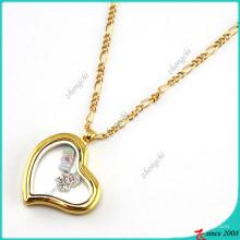 Fashion Bent Gold Herz Medaillon Anhänger Halskette (FL16040835)