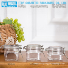 150g - 200g special and good quality hot-selling mask/cream/gel clip square kilner/airtight plastic pet jar packaging