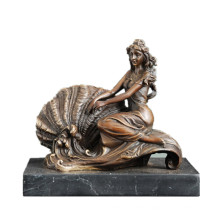 Female Figure Bronze Sculpture Conch Lady Bookshelf Indoor Decor Brass Statue TPE-535
