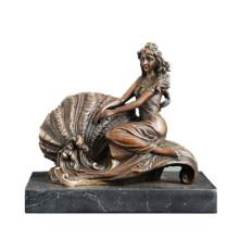 Женская фигура бронзовая скульптура раковины Леди полке крытый Декор Латунь статуя ТПЭ-535