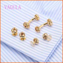 VAGULA Fashion Gold Plated Gemelos Wedding Cuffling Set