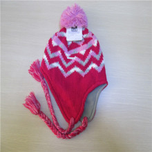 Hand knitted Beanie hat with earflap & tassel