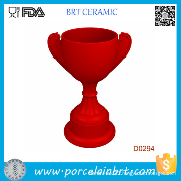 Red Trophy Shape Kitchen Ceramic Egg Cup Holder