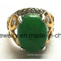 Fashion Jewelry Stainless Steel Green Stone Casting Ring